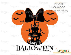 Happy Halloween Minnie Castle Ears- Cuttable Design Files (Svg, Eps, Dxf, Png, Jpg) For Silhouette and Cricut