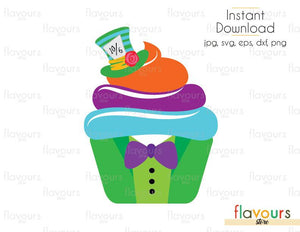 Mad Hatter Cupcake - Alice in Wonderland - Cuttable Design Files (Svg, Eps, Dxf, Png, Jpg) For Silhouette and Cricut