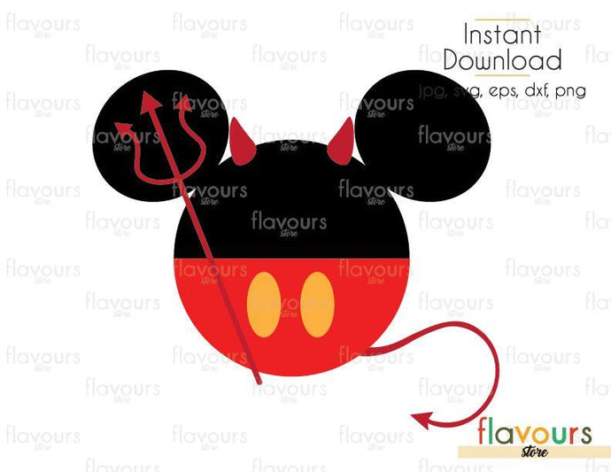Mickey Devil Halloween - Cuttable Design Files (Svg, Eps, Dxf, Png, Jpg) For Silhouette and Cricut