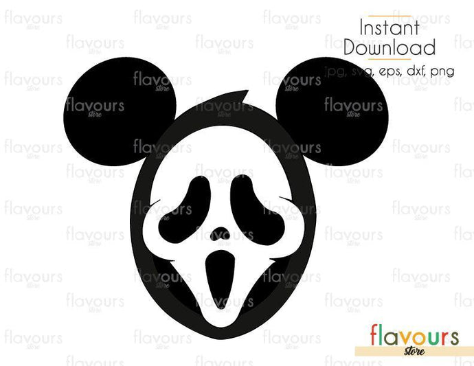 Mickey Ghost Face - Cuttable Design Files (Svg, Eps, Dxf, Png, Jpg) For Silhouette and Cricut