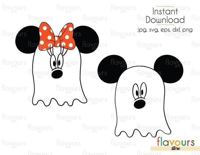 Mickey and Minnie Ghost - Cuttable Design Files (Svg, Eps, Dxf, Png, Jpg) For Silhouette and Cricut