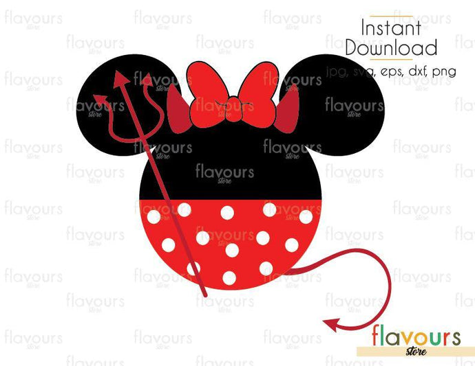 Minnie Devil Halloween - Cuttable Design Files (Svg, Eps, Dxf, Png, Jpg) For Silhouette and Cricut - FlavoursStore