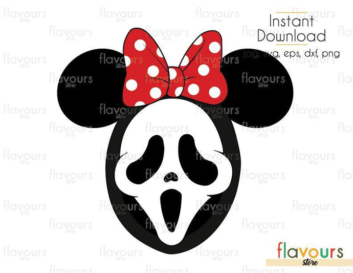 Minnie Ghost Face - Cuttable Design Files (Svg, Eps, Dxf, Png, Jpg) For Silhouette and Cricut