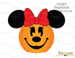 Minnie Pumpkin - Cuttable Design Files (Svg, Eps, Dxf, Png, Jpg) For Silhouette and Cricut