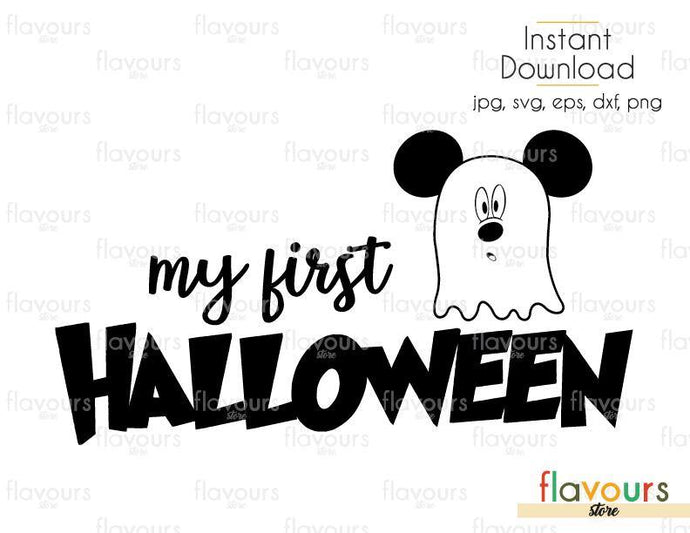 My First Halloween Mickey Ghost - Cuttable Design Files (Svg, Eps, Dxf, Png, Jpg) For Silhouette and Cricut