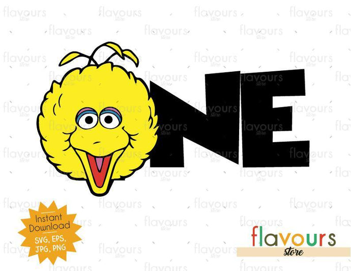 One - Big Bird - Sesame Street - Cuttable Design Files (Svg, Eps, Dxf, Png, Jpg) For Silhouette and Cricut