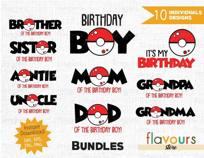 Pokeball - Pokemon - Bday Boy Bundle - Cuttable Design Files (SVG, EPS, JPG, PNG) For Silhouette and Cricut