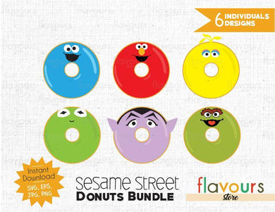 Sesame Street Donuts Inspired Bundle - Instant Download - SVG Cut File