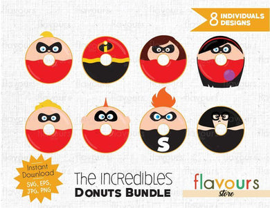 The Incredibles Donuts Inspired Bundle - Instant Download - SVG Cut File