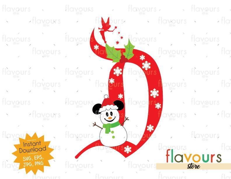 Disney D Christmas Mickey Snowman - Disney Christmas - Cuttable Design Files (SVG, EPS, JPG, PNG) For Silhouette and Cricut