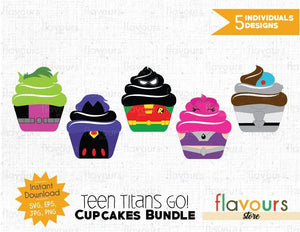 Teen Titans Go Cupcakes Bundle - Cuttable Design Files (SVG, EPS, JPG, PNG) For Silhouette and Cricut