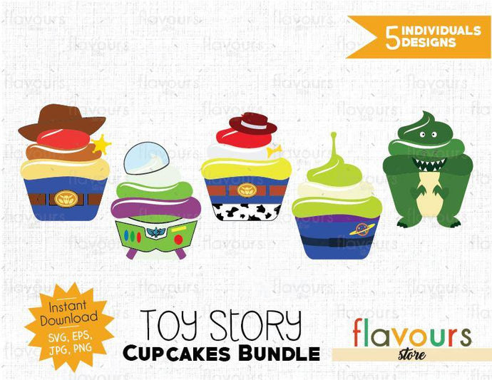 Toy Story Cupcakes Bundle - Cuttable Design Files (SVG, EPS, JPG, PNG) For Silhouette and Cricut
