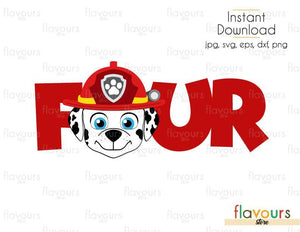 Four - Marshall - Paw Patrol - Cuttable Design Files (Svg, Eps, Dxf, Png, Jpg) For Silhouette and Cricut