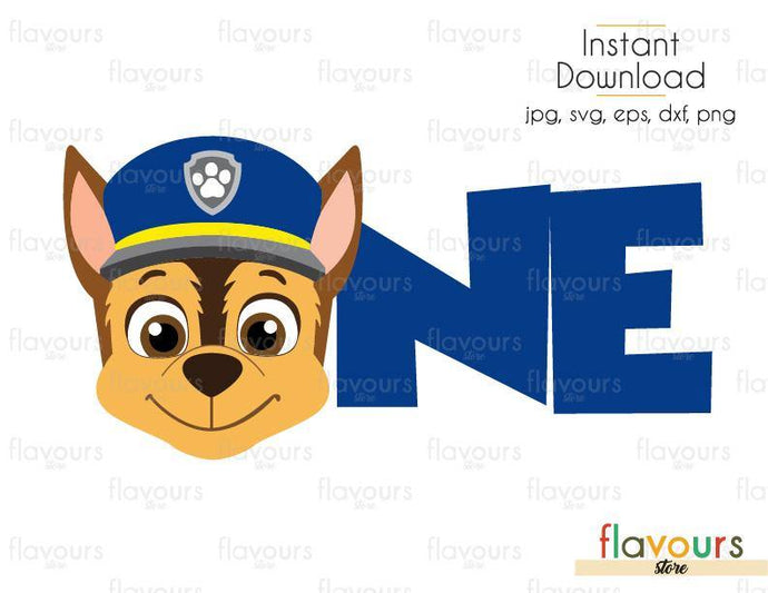 One Birthday - Chase - Paw Patrol - Cuttable Design Files (Svg, Eps, Dxf, Png, Jpg) For Silhouette and Cricut