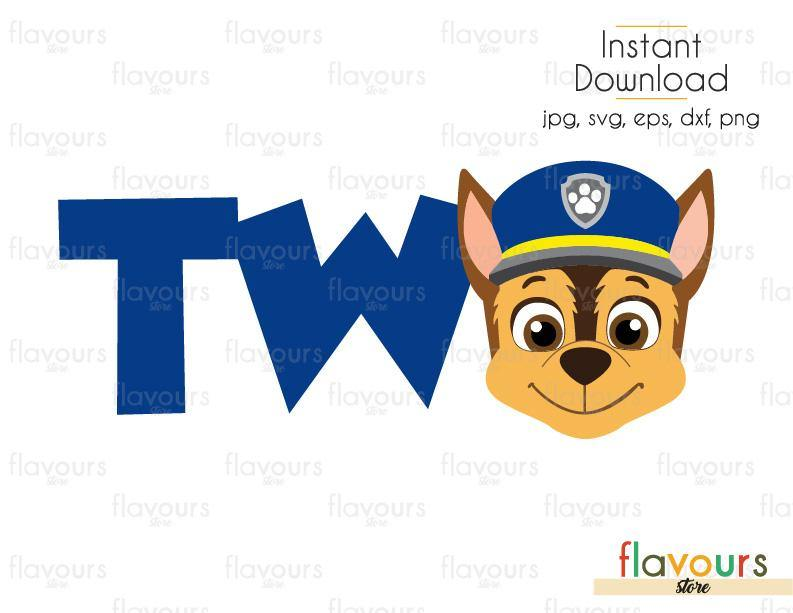 Two Birthday - Chase - Paw Patrol - Cuttable Design Files (Svg, Eps, Dxf, Png, Jpg) For Silhouette and Cricut