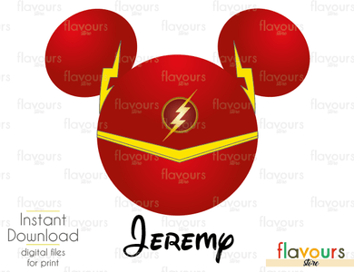 Flash Mickey Ears - Disney - Digital Files Printables - Iron On Transfer - JPG Files