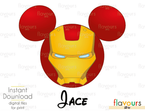 Iron Man Mickey Ears - Disney - Digital Files Printables - Iron On Transfer - JPG Files