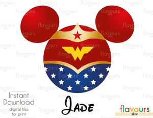 Wonder Woman Minnie Ears - Disney - Digital Files Printables - Iron On Transfer - JPG Files