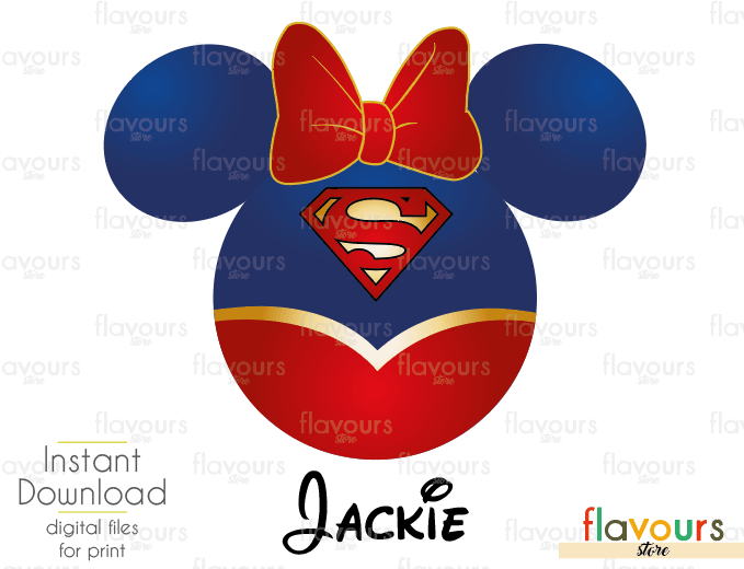 Supergirl Minnie Ears - Disney - Digital Files Printables - Iron On Transfer - JPG Files