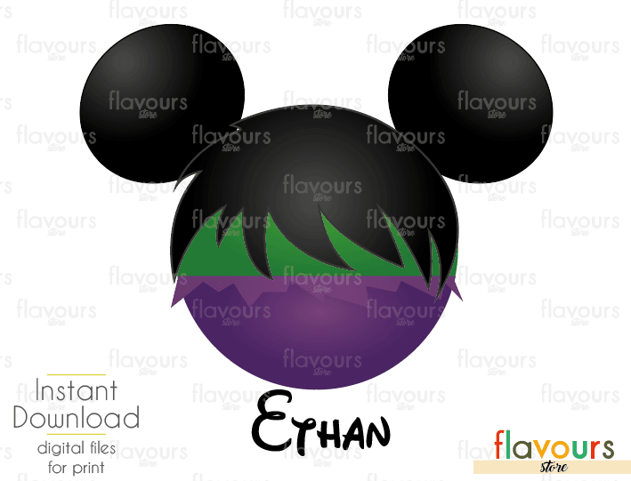 Hulk Mickey Ears - Disney - Digital Files Printables - Iron On Transfer - JPG Files
