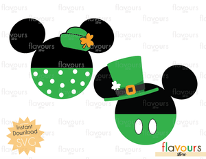 Minnie and Mickey St. Patrick's Day - Disney - INSTANT DOWNLOAD - For Cutting - SVG Files