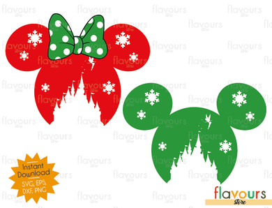 Mickey And Minnie Christmas Castle - Cuttable Design Files (SVG, EPS, DXF, PNG) For Silhouette and Cricut