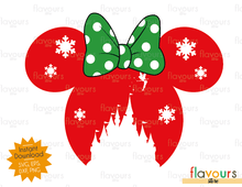 Mickey And Minnie Christmas Castle - SVG Cut File
