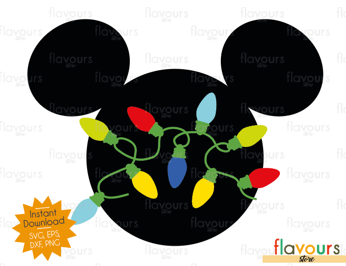Mickey Christmas Lights - Disney - Cuttable Design Files (SVG, EPS, DXF, PNG) For Silhouette and Cricut