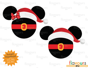 Mickey And Minnie Mouse Christmas Hat - Cuttable Design Files (SVG, EPS, DXF, PNG) For Silhouette and Cricut