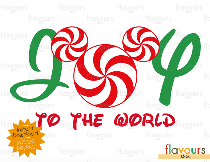 Joy To The World - Mickey Peppermint - SVG Cut File