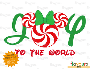 Joy To The World - Minnie Peppermint - Disney - Cuttable Design Files (SVG, EPS, DXF, PNG) For Silhouette and Cricut