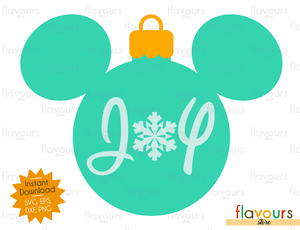 Mickey Christmas Ball - Joy - Disney Christmas - Cuttable Design Files (SVG, EPS, DXF, PNG) For Silhouette and Cricut