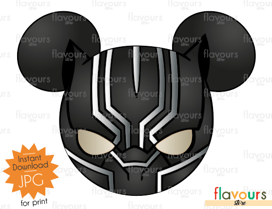 Black Panther Mickey Ears - Disney - Digital Files Printables - Iron On Transfer - JPG Files