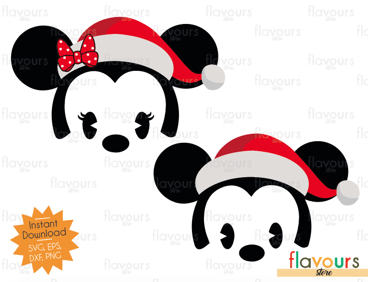 Baby Minnie and Mickey Santa Hat - Cuttable Design Files (SVG, EPS, DXF, PNG) For Silhouette and Cricut