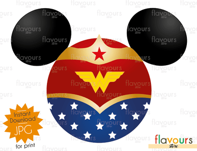 Minnie Wonder Woman Ears - Disney - Digital Files Printables - Iron On Transfer - JPG Files