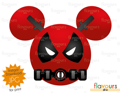 Deadpool Mickey Ears - Disney - Digital Files Printables - Iron On Transfer - JPG Files