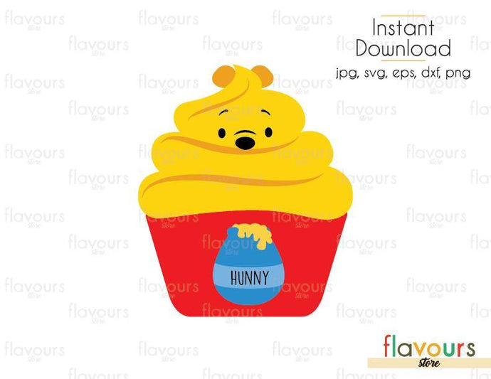Winnie The Pooh Cupcake - Winnie The Pooh - Cuttable Design Files (Svg, Eps, Dxf, Png, Jpg) For Silhouette and Cricut