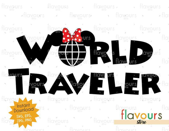 World Traveler Minnie Ears - Instant Download - SVG Cut File