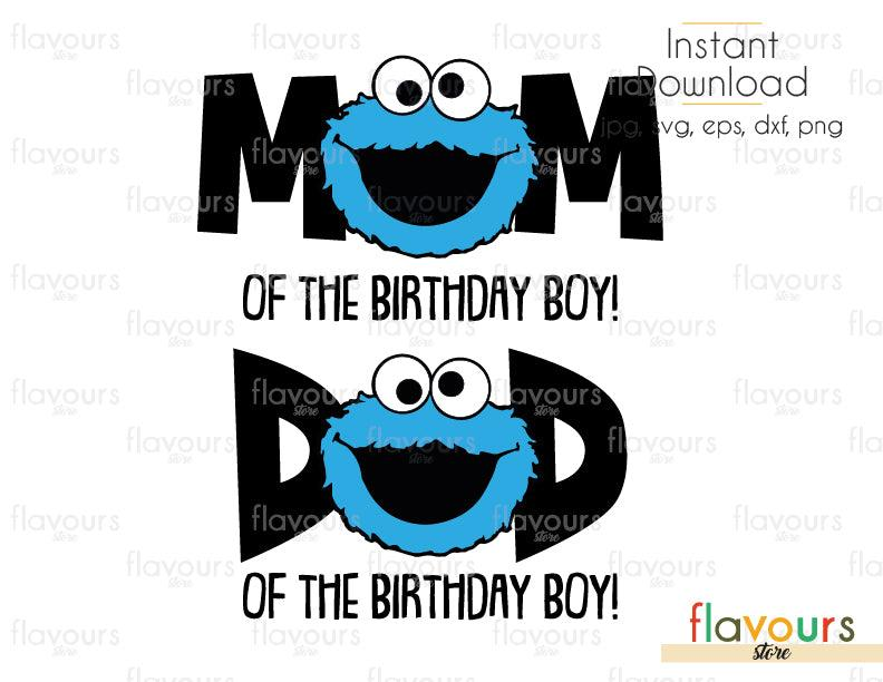 Mom and Dad of the Birthday Boy - Cookie Monster - Sesame Street - Cuttable Design Files (Svg, Eps, Dxf, Png, Jpg) For Silhouette and Cricut