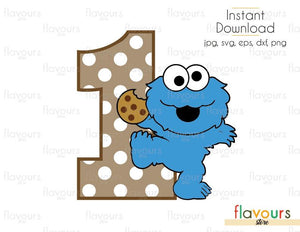 One - Baby Cookie Monster - Sesame Street - Cuttable Design Files (Svg, Eps, Dxf, Png, Jpg) For Silhouette and Cricut
