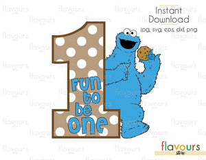 Fun To Be One - Cookie Monster - Sesame Street - Cuttable Design Files (Svg, Eps, Dxf, Png, Jpg) For Silhouette and Cricut