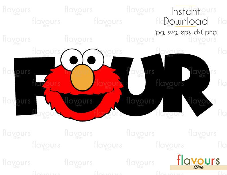 Four - Elmo - Sesame Street - Cuttable Design Files (Svg, Eps, Dxf, Png, Jpg) For Silhouette and Cricut