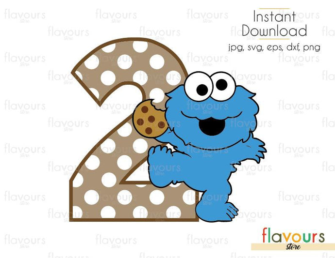 Two - Baby Cookie Monster - Sesame Street - Cuttable Design Files (Svg, Eps, Dxf, Png, Jpg) For Silhouette and Cricut