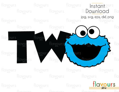 Two - Cookie Monster - Sesame Street - Cuttable Design Files (Svg, Eps, Dxf, Png, Jpg) For Silhouette and Cricut