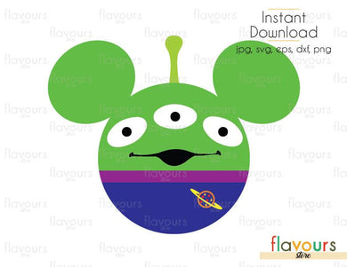 Mickey Alien  - Toy Story - Cuttable Design Files (Svg, Eps, Dxf, Png, Jpg) For Silhouette and Cricut