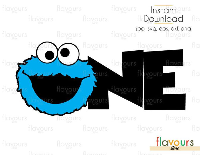 One - Cookie Monster - Sesame Street - Cuttable Design Files (Svg, Eps, Dxf, Png, Jpg) For Silhouette and Cricut