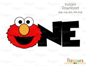 One - Elmo - Sesame Street - Cuttable Design Files (Svg, Eps, Dxf, Png, Jpg) For Silhouette and Cricut