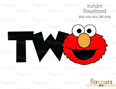 Two - Elmo - Sesame Street - Cuttable Design Files (Svg, Eps, Dxf, Png, Jpg) For Silhouette and Cricut
