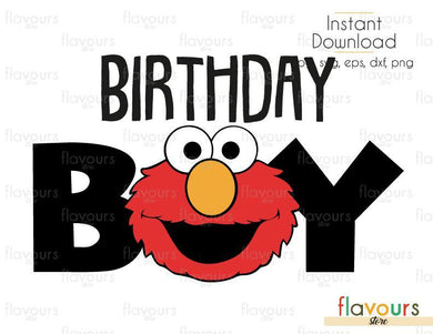 Birthday Boy - Elmo - Sesame Street - Cuttable Design Files (Svg, Eps, Dxf, Png, Jpg) For Silhouette and Cricut