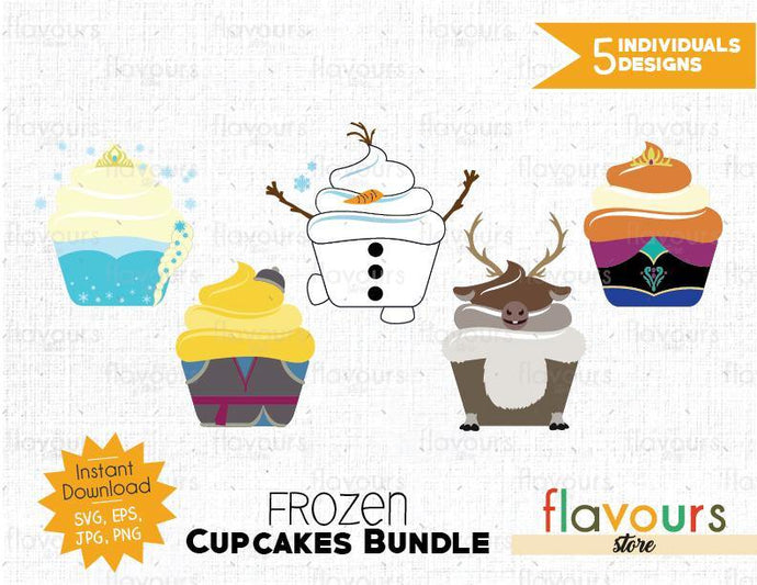 Frozen Cupcakes Bundle - SVG Cut File